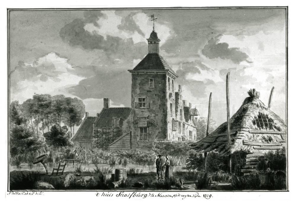 Kasteel Snaafburg in Maarssen. Tekening van Abraham de Haen, 1729